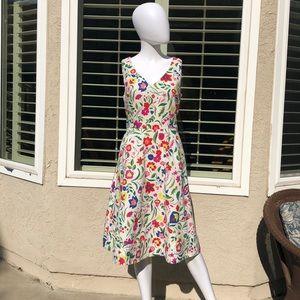 Boden White/Floral Sleeveless Dress Sz 6R